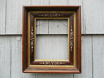 Antique 19thC Eastlake era Deep Picture Frame with Glass fits 8 x 10
