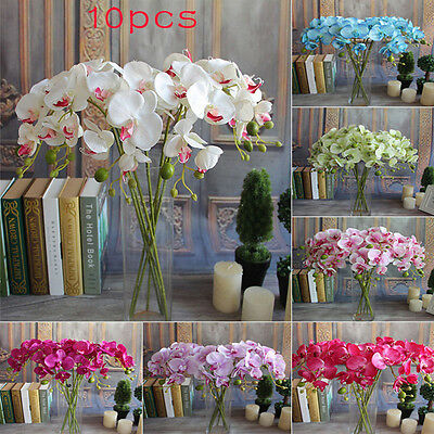 10X Beauty Butterfly Orchid Silk Flower Home Wedding Party Phalaenopsis Bouquet