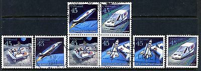 US Airmail #C122-25 - Futuristic Mail Delivery - Used Block of 4 AND 4 Singles
