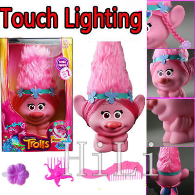 Movie Trolls Dolls Poppy Princess Figure Lighting Toy Xmas Gift with Accesores
