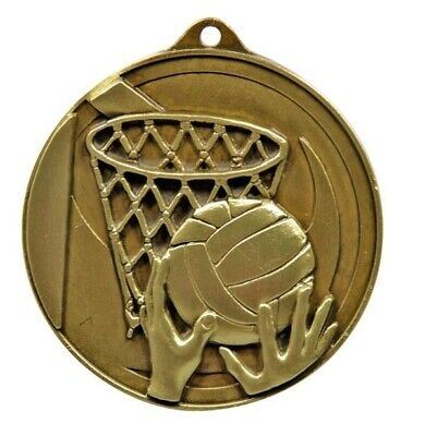 Netball Gold Medal Trophy Award 50mm FREE Engraving & Neck Ribbon
