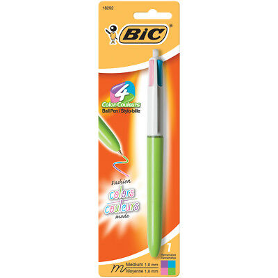 Bic BIC 4-Color Fashion Retractable Ballpoint Pen-Purple, Pink, Turquo (6Pk)
