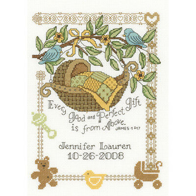 """M & R Technologies Perfect Gift Birth Record Counted Cross Stitch Kit-7.5""""X10"""" 1"""
