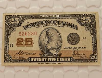 Dominion of Canada 1923 25 Cents Fractional Currency McCavour Saunders Note F130