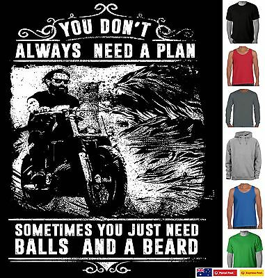 Funny T-Shirt motorbikes balls beards Father's Dad Men's Singlet size Aussie new