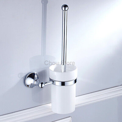 Chrome Polished Brass WC Bathroom Cleaning Toilet Brush Holder Set Ceramic Cup