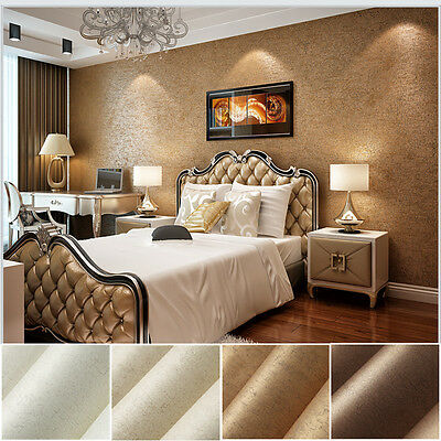 10M Luxury Vintage Shiny Gold Embossed Flock Textured Non-Woven Wallpaper Roll