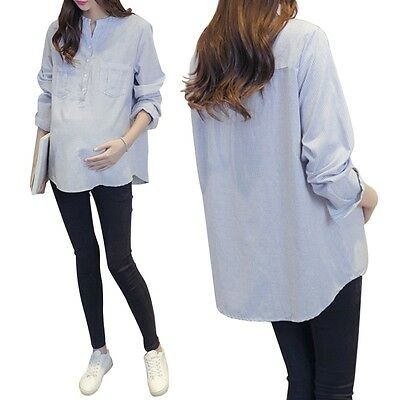 New Pregnant Women Blouse Loose Comfy Ladies Striped/Plaid Leisure Shirt Tops