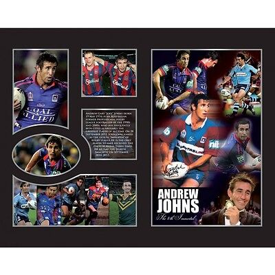 New Andrew Johns Newcastle Knights Limited Edition Memorabilia Framed