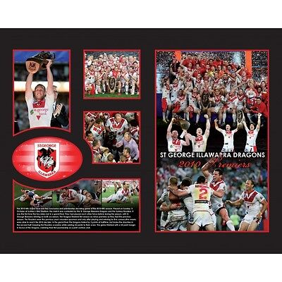 New St George Illawarra Dragons 2010 Premiers Limited Edition Memorabilia Framed