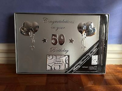 Delux Happy 50th Birthday Black Party Guest Book Keepsake Memories Gift w/h Pen