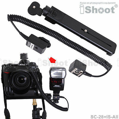 Flash camera Bracket&2.5m i-TTL Off-Camera Shoe Cord Cable for Nikon SC-28/SC-29