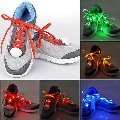 1 Pair Party Clubwear Shoe Lace Lights Light-Up LED Flash Glow In The Dark Night