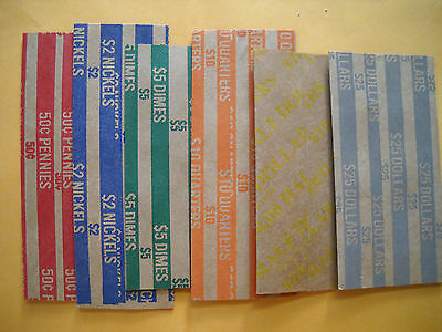 25 new paper coin wrappers your choice penny nickel dime quarter half dollar 50c