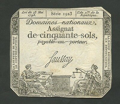 FRANCE - 50 sols  1793  Krause.A70b  About EF  ( Banknotes )
