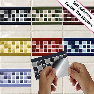 Mosaic Glass Effect Border Tile Sticker Decal Transfer Bathroom Kitchen PTB1