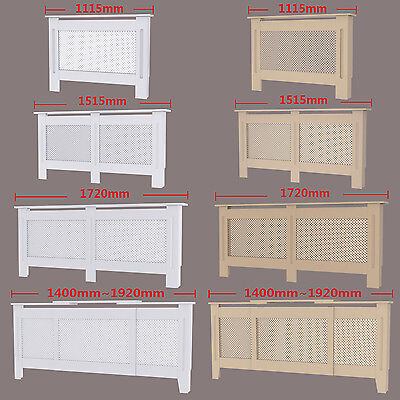 Natural White Painted Radiator Cover Wall Cabinet Wood MDF Traditional Modern UK