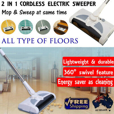 NEW 2 in 1 Cordless Electric Sweeper 360 Swivel Mop Floor Dust Cleaner Brush