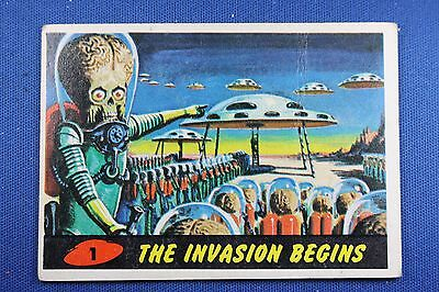 1962 Topps Bubbles - Mars Attacks - #1 The Invasion Begins - G/VG Condition