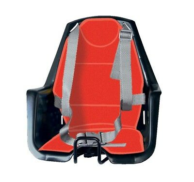 RMS Front child bike seat Rio Cotton, black colour with red lining