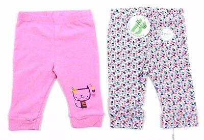 Ex BHS Baby Girls 2 Pack Pink Cat Spotty Leggings Set Age 0 3 6 9 12 24 Months