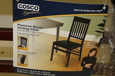Cosco Wood Folding Chair With Vinyl Seat & Mission Back New