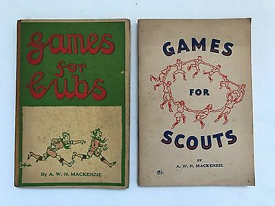 2 Vintage Books By A. W. N. MacKenzie - Games For Scouts & Games For Cubs