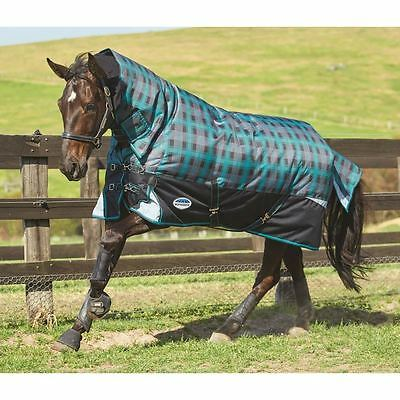 Weatherbeeta Freestyle Heavy Weight Combo Turnout Rug - 7'0 - Black/Teal Plaid