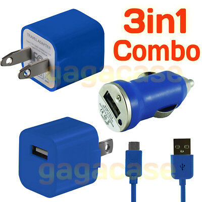 BU 3In1 Car Charger,Power Adapter &USB Cable Samsung Galaxy S3 S4 S5 S6 S7 edge