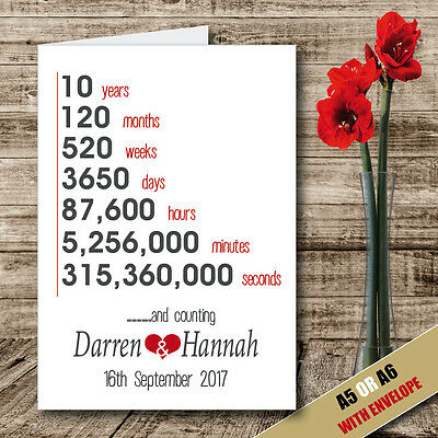 Personalised 10 Year Anniversary Couples Personalised Wedding Occasion CARD -05