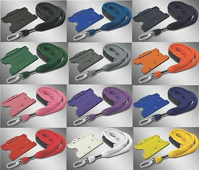 ID Neck Strap Lanyard 10mm Heavy Duty Clip & Matching ID Card Pass badge Holder