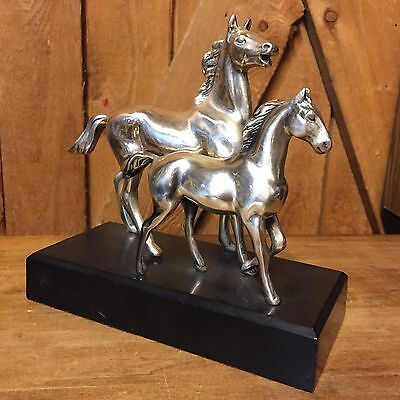 Vintage Silver Horse Sculpture Mare And Goal Vintage Marked