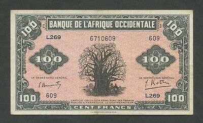 FRENCH WEST AFRICA - 100 francs  1942  P31a  About VF  ( Banknotes )