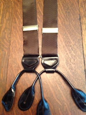 Jacquard Silk Suspenders Brown Basket Weave Braces Y Back Leather Button-On