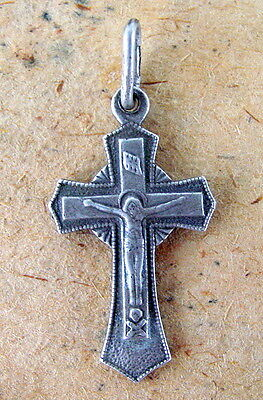 Silver CROSS Russian Sterling Jesus Christ, Antique Orthodox, Crucifiction, Rare