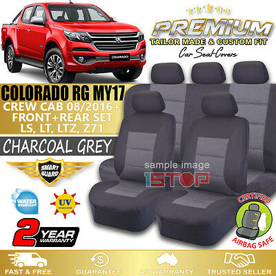 Holden Colorado Rg Crew Cab My17 Charcoal Grey Custom Fit Seat Covers 2016-2017