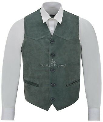 Men's Green Suede Real Leather Waistcoat Western Cowboy Festival Party Vest ZARA