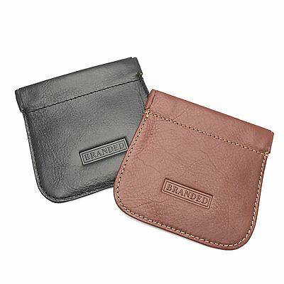 Quality Leather Strong Snap Top Stitched Coin Purse Pouch BRAND NEW