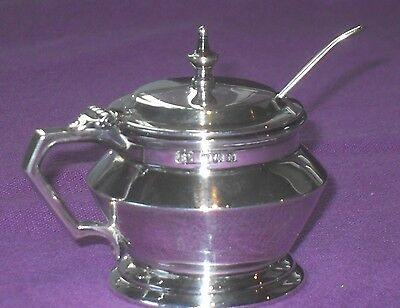 Antique Art Deco 1933 Heavy Sterling Silver Mustard Pot & Spoon By Bravingtons