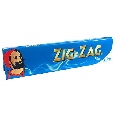 Zig Zag Rolling Papers Blue Standard Long Blunt Sized Slim Natural Arabic Gum