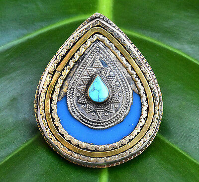Blue Afghan Kuchi Ring Tribal Bohemian Jewelry Hippie Carved Ethnic Boho Gypsy