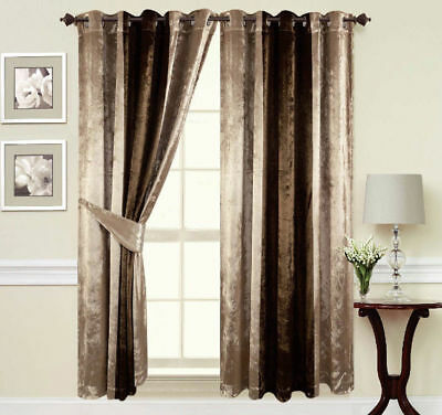 Crush Velvet Curtains Ring Top thick Ready made fully Lined Champagne Gold