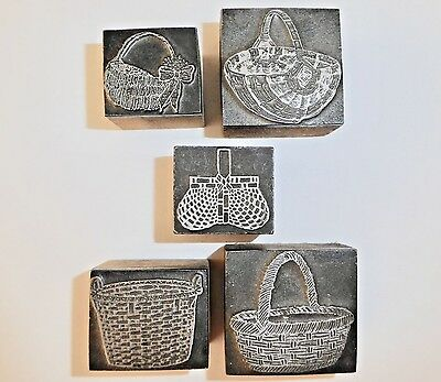 FIVE (5) ANTIQUE, Rare, Wood + Metal Printer Blocks BASKETS: EASTER or  SPRING!