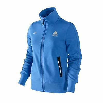 Womens Nike Athletic West Blue Track Jacket Top Full Zip Sports Running XS L NEW