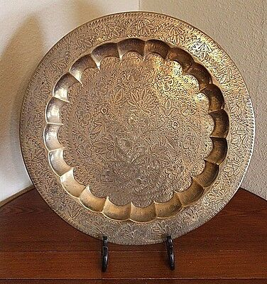 Antique Vtg India Lg Etched Brass Tray Plate Wall Hanging Floral Middle East 17""