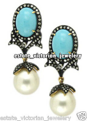 Vintage Retro 2.28ct Rose Cut Diamond Turquoise Pearl 925 Silver Earring Jewelry