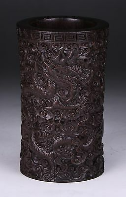 A CHINESE ANTIQUE ZITAN CARVED BRUSHPOT, 19th CENTURY