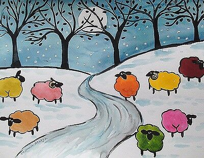 """Fridge Magnet, Quirky colourful sheep in snow  4.25"""" by 5.5"""""""