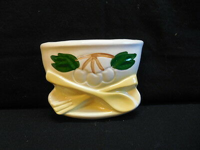 Wall Pocket  Make in USA  White Bowl w/ Yellow Fork & Spoon  Cherries and Leaves