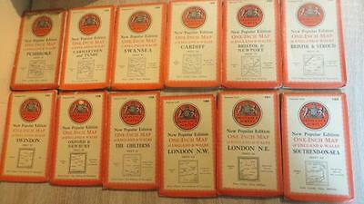 "c1946 ""GOOD COLLECTION OF 40 X 1 INCH/MILE O/S MAPS OF BRITAIN - CLOTH/PAPER"